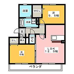 愛知県名古屋市中村区鈍池町1丁目の賃貸アパートの間取り