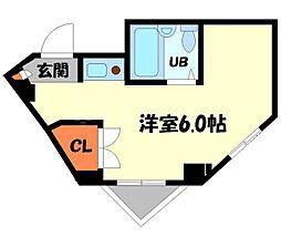 エルベ守口 2階ワンルームの間取り
