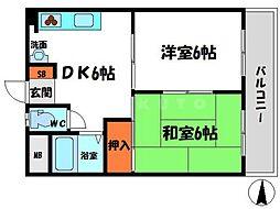 メゾン阪神 4階2DKの間取り