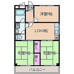 神奈川県横浜市港北区綱島西6丁目の賃貸マンションの間取り