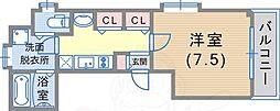 サニーハウス 2階1Kの間取り