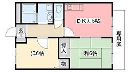 兵庫県西宮市田代町の賃貸アパートの間取り