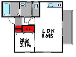ステラ香椎 2階1LDKの間取り