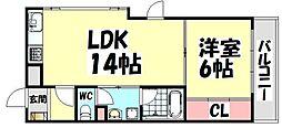 大阪府堺市西区鳳北町4丁の賃貸マンションの間取り