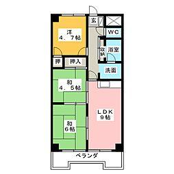 ベルシャイン竹原B[6階]の間取り