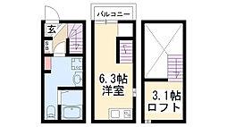 愛知県尾張旭市桜ケ丘町西の賃貸アパートの間取り