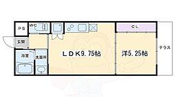 フォルトゥーナ毘沙門町 1階1DKの間取り