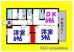 JR京葉線 葛西臨海公園駅 徒歩24分の賃貸アパート 1階2DKの間取り