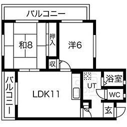 オークリブ[3階]の間取り