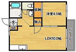兵庫県神戸市兵庫区梅元町5丁目の賃貸アパートの間取り