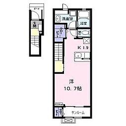名古屋市営東山線 中村日赤駅 徒歩12分の賃貸アパート 2階ワンルームの間取り