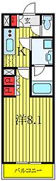 都営三田線 蓮根駅 徒歩8分の賃貸マンション 2階1Kの間取り