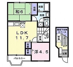 千葉県柏市若柴の賃貸アパートの間取り