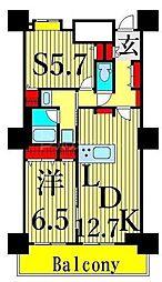 東京メトロ日比谷線 南千住駅 徒歩5分の賃貸マンション 21階1SLDKの間取り