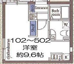 東京メトロ東西線 木場駅 徒歩8分の賃貸マンション 5階ワンルームの間取り