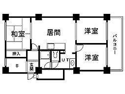 真駒内緑町団地3号棟 8階3SLDKの間取り