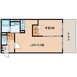 奈良県奈良市押上町の賃貸アパートの間取り