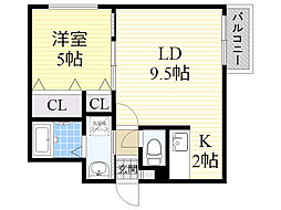 ル・ファール南6条ウエスト 3階1LDKの間取り
