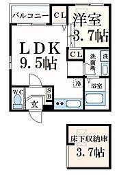 阪神本線 青木駅 徒歩5分の賃貸アパート 1階1SLDKの間取り