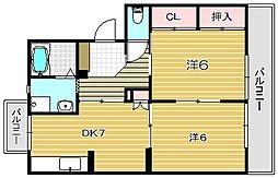 大阪府高槻市西冠3丁目の賃貸マンションの間取り