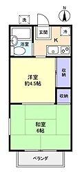 中志津コーポ[2階]の間取り