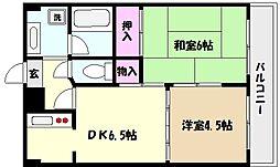 阪急神戸本線 御影駅 徒歩2分の賃貸マンション 4階2DKの間取り
