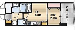 SERENiTE福島scelto 3階1Kの間取り