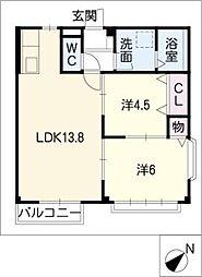 宝土パレスA・B[2階]の間取り