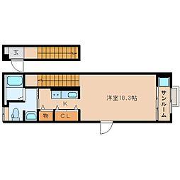 静岡県静岡市駿河区みずほ3丁目の賃貸アパートの間取り