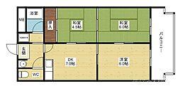阪急京都本線 淡路駅 徒歩15分の賃貸マンション 1階3DKの間取り
