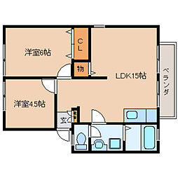 奈良県大和高田市東三倉堂町の賃貸アパートの間取り