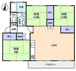 習志野台団地3街区1号棟[2階]の間取り