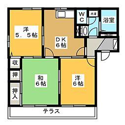 メゾンクレールB棟[1階]の間取り