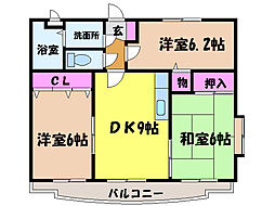 愛媛県松山市馬木町の賃貸マンションの間取り