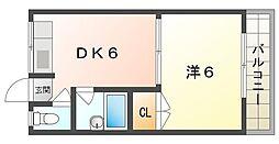 喜田ハイツ 2階1DKの間取り