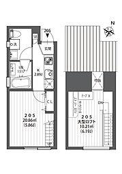 クラソ駒沢大学 2階1Kの間取り