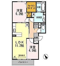 京阪本線 大和田駅 徒歩18分の賃貸アパート 1階2LDKの間取り