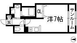 兵庫県宝塚市山本丸橋4丁目の賃貸マンションの間取り