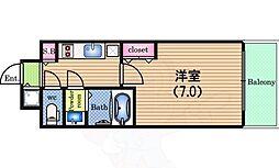 Osaka Metro四つ橋線 肥後橋駅 徒歩8分の賃貸マンション 1階1Kの間取り