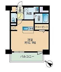 福岡市地下鉄七隈線 薬院大通駅 徒歩4分の賃貸マンション 9階ワンルームの間取り
