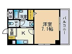 福岡県福岡市中央区春吉1丁目の賃貸マンションの間取り