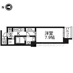 レジデンス京都ゲートシティ507 5階1Kの間取り