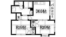 大阪府池田市神田1丁目の賃貸マンションの間取り