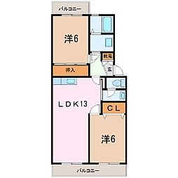 静岡県富士市厚原の賃貸マンションの間取り