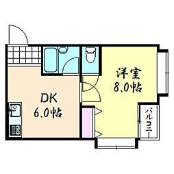鶴橋ツリガミビル[301号室]の間取り