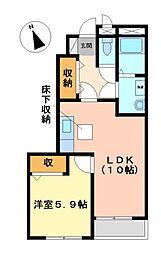 愛知県日進市野方町西島の賃貸アパートの間取り