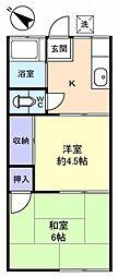 ヤマサコーポ[1階]の間取り