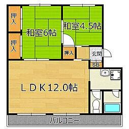 新北野第一コーポC棟[9階]の間取り