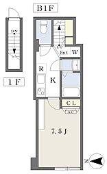 東京メトロ有楽町線 護国寺駅 徒歩5分の賃貸マンション 地下1階1Kの間取り