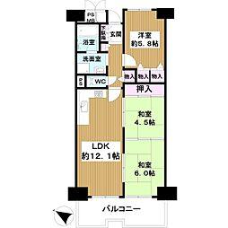 近鉄南港ガーデンハイツ22号棟 4階3LDKの間取り